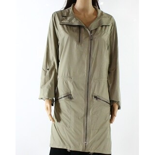 Elie Tahari NEW Beige Womens Size Large L Long Full Zip Raincoat