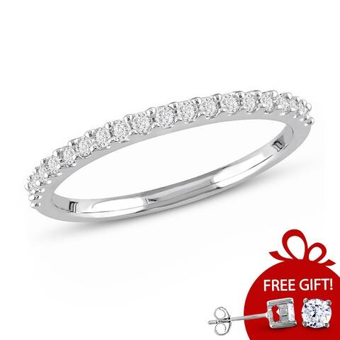 Miadora 10k White Gold 1/5ct TDW Diamond Stackable Anniversary Wedding Band Ring