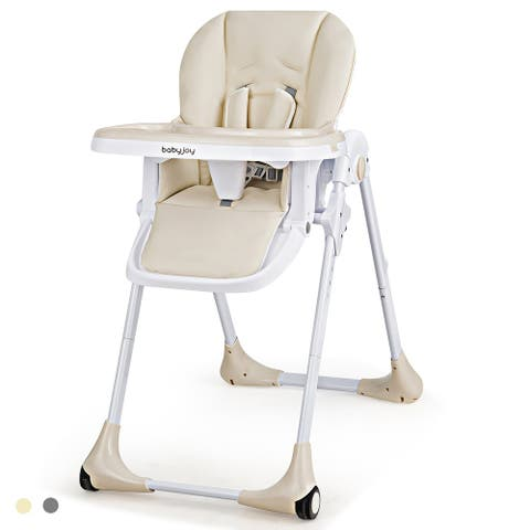 Costway Baby Foldable Convertible High Chair w/Wheels Adjustable