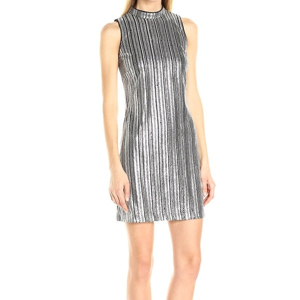 0bd71e7d Guess NEW Silver Black Women's Size 2 Sheath Striped Sequin Dress