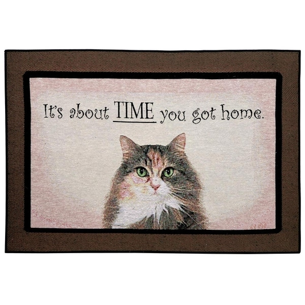 Funny Doormat - It's About Time You Got Home Cat Rug