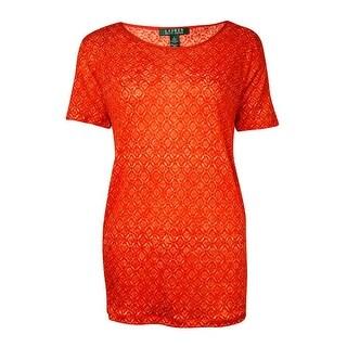 Lauren Ralph Lauren Women's Mix-Media Printed Knit Top - Orange Multi