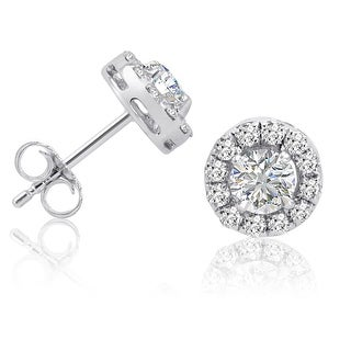 Amanda Rose AGS Certified 1ct TW Halo Diamond Stud Earrings in 14K White Gold