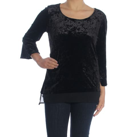 NY COLLECTION Womens Black Layered Velvet Bell Sleeve Scoop Neck Top Size: S