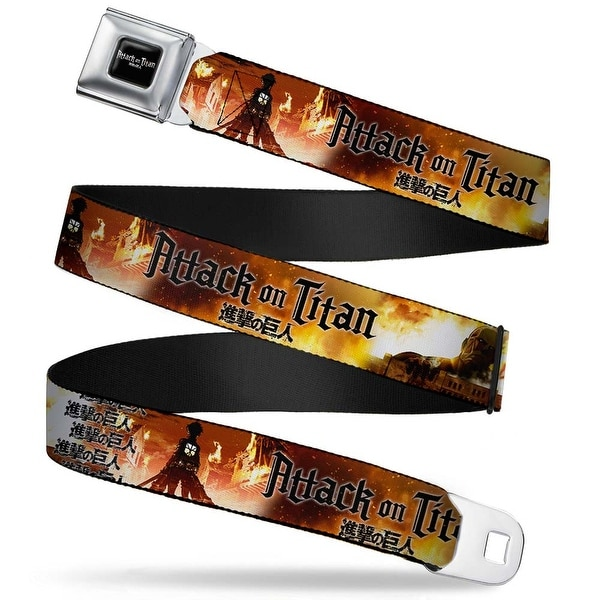 Attack On Titan Logo Full Color Black White Red Attack On Titan Colossal Seatbelt Belt