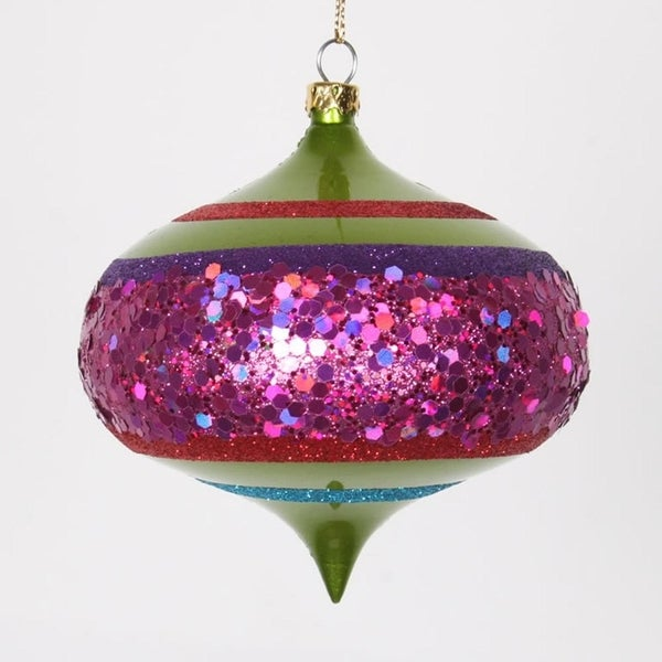 "4ct Lime Green and Cerise Pink Shatterproof Christmas Glitter Onion Ornaments 4"" (100mm)"