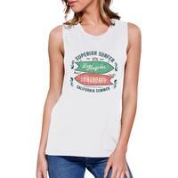 Superior Surfer LA Longboard Womens White Sleeveless Summer T-shirt