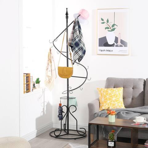 VECELO Metal Surround Multi-hook Coat Stand Hanger-Black - 22.6''*76.3''