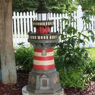 Sunnydaze Traditional Lighthouse Outdoor Water Fountain with LED Light - 39 Inch