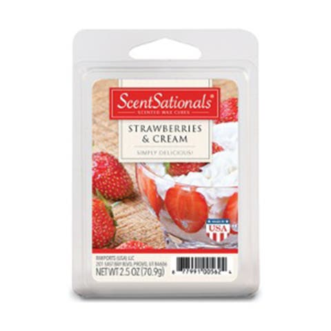 Scentsationals Strawberries & Cream 2.5 oz Fragrant Wax Melts, 6 Scented Wax Cubes - 3 Pack