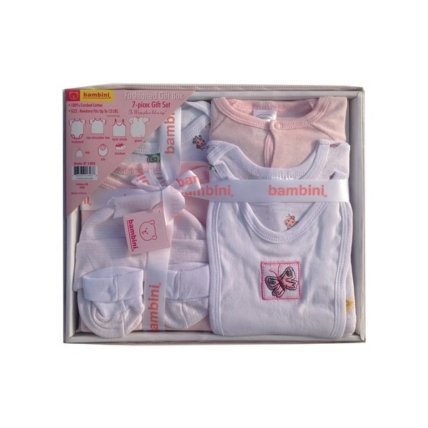 Bambini Pink Newborn 7-Piece Pastel Interlock Boxed Gift Set