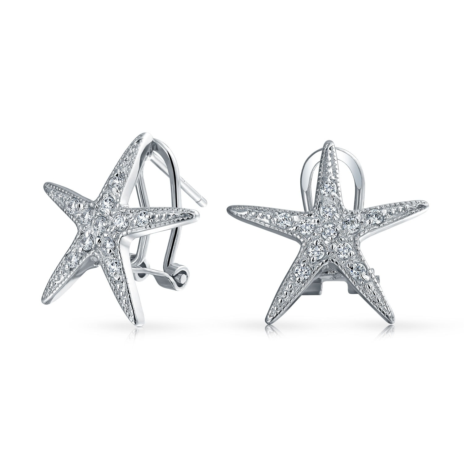 Pave Set Round Clear Cubic Zirconia Starfish Stud Earring Sterling Silver