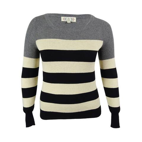 Pink Rose Juniors' Round Neck Sweater - Heather Grey/Heather Oatmeal/Black - L