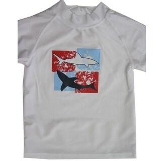 Sun Kids Tm. Little Boys White Fish Print Swim Wear T-Shirt 4T-7