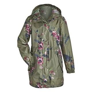 Joules Women's Floral Print Raincoat Rain Jacket Waterproof Anorak -Hunter Green