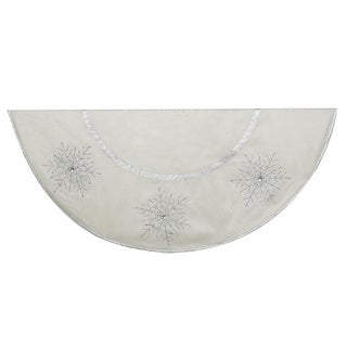 """Ivory with Crystal Snowflakes and Lace Trim Christmas Tree Skirt 54"""""""