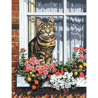 """Paint By Number Kit Artist Canvas Series 9""""X12""""-Cat In The Window"""