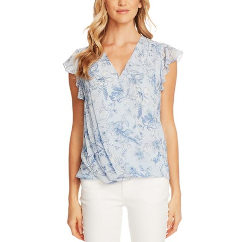 Vince Camuto Womens Wrap Top Floral Print V-Neck - Blue Bird