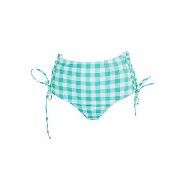 675ff2625b8c9 California Waves Juniors Aqua Check Please High-Waist Lace-Up Bikini Bottom  XS