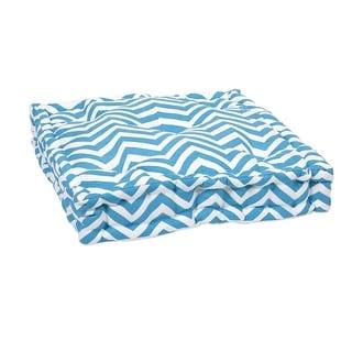 """20"""" Aqua Blue and White Bold Chevron Floor Cushion"""