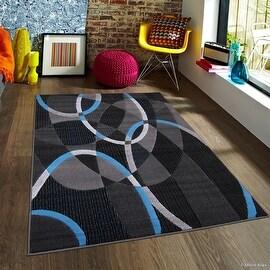 "Blue Allstar Modern. Contemporary Woven Rug. Drop-Stitch Weave Technique. Carved Effect. Vivid Pop Colors (5' x 6' 11"")"