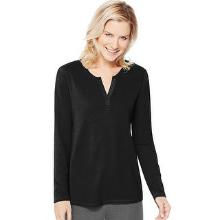 Women's Hanes Lightweight Split Neck Tunic - Size - S - Color - New Ebony