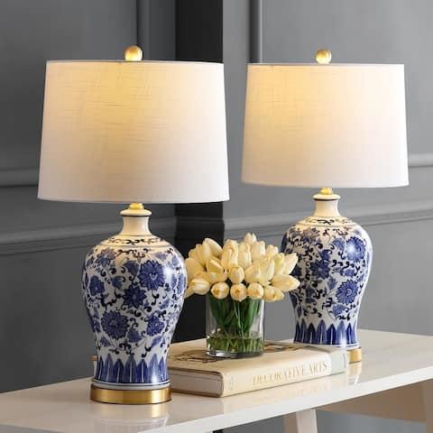 "Jennifer 25.75"" Ceramic LED Table Lamp, Blue (Set of 2) by JONATHAN Y"