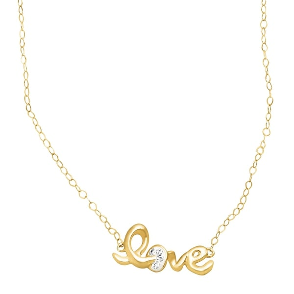 Crystaluxe Teeny-Tiny 'Love' Necklace with Swarovski Crystals in 14K Gold