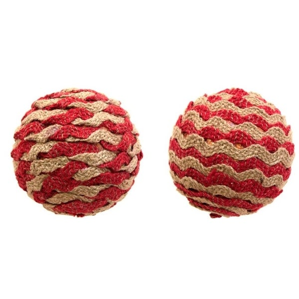 "Club Pack of 12 Christmas Decorative Creative Red Brown Twine Ball Ornament 4.25""L"