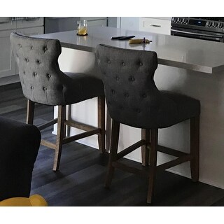 Shop Lianna Nailhead Trim Linen Upholstered Bar Stools