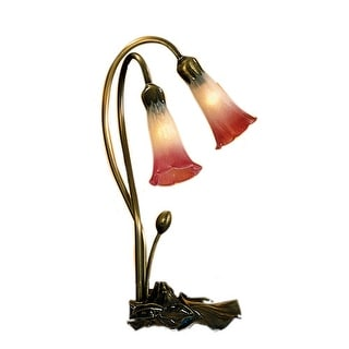 Meyda Tiffany 14170 Stained Glass / Tiffany Desk Lamp from the Lilies Collection - pink / white