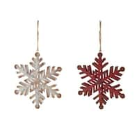 "Pack of 12 Assortment of 2 Evocative and Striking Distressed Snowflake Ornaments 6""D - RED"