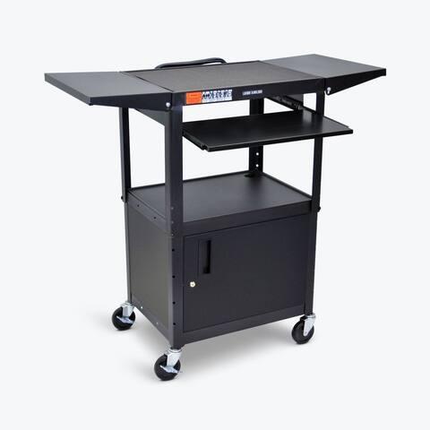 Adjustable Metal Cart w/ Keyboard Tray, Cabinet & Drop Leaf Shelves