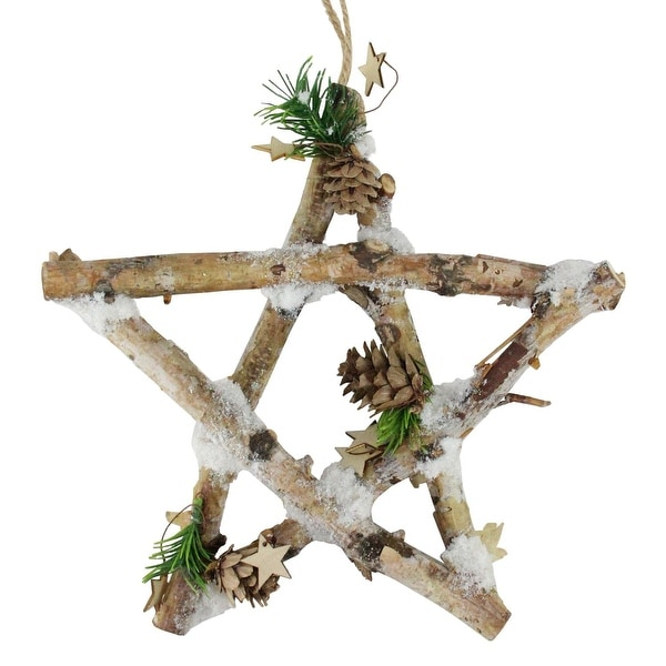 "9.75"" Small Rustic Snowy Wood Branch Star Christmas Ornament"