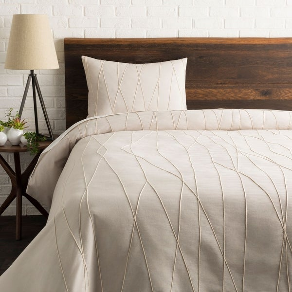 "86"" Cream White and Gray Twin Duvet Set with One Sham - N/A"