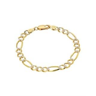 Mcs Jewelry Inc 14 KARAT TWO TONE, YELLOW GOLD WHITE GOLD FIGARO CHAIN BRACELET (6 INCHES) - Two-tone