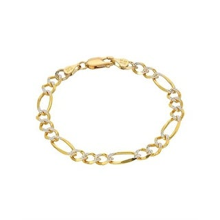 MCS JEWELRY INC 14 KARAT SOLID TWO TONE, YELLOW GOLD AND WHITE GOLD, FIGARO CHAIN BRACELET (5.3MM)