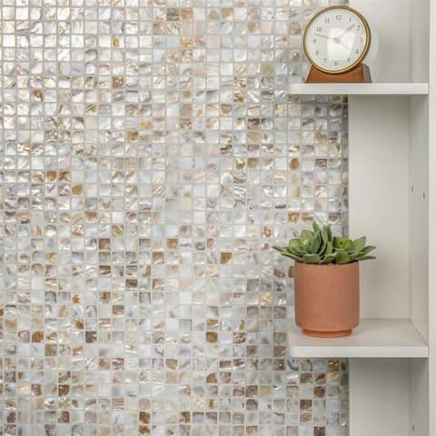 "SomerTile Conchella Square Natural 12"" x 12"" x 2 mm Natural Seashell Mosaic Tile (10 tiles/10 sqft.)"