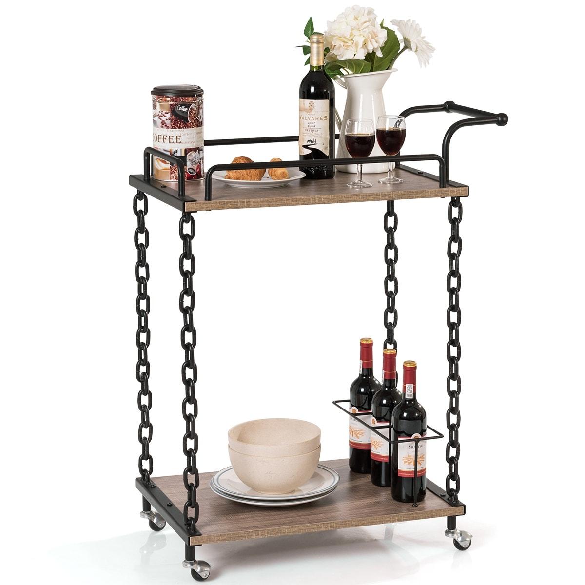 3ba409f56b6c 2-Tier Wood Metal Bar Cart, Indoor Serving Wine Tea Holder with Caster  Wheels, Multifunctional Modern Entertainment - as pics