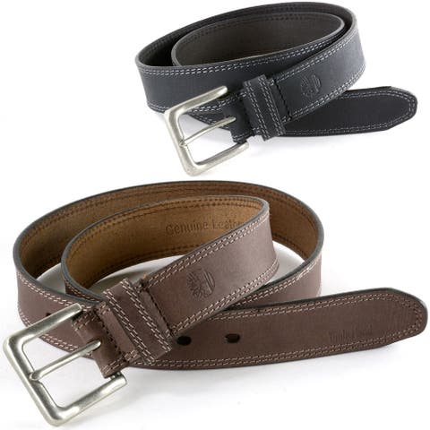 Timberland Mens 35MM Casual Belt Boot Cut Leather Rugged Classic Jean Belt
