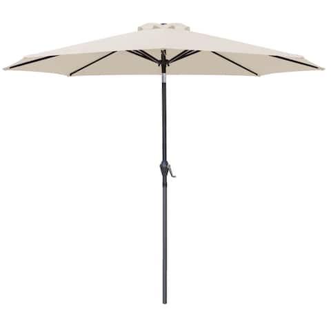 Homall 9 FT Patio Umbrella Outdoor Table Market Umbrella with Easy Push Button Tilt for Garden Deck Backyard and Pool Black