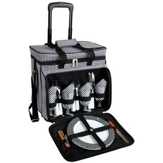 Picnic at Ascot Houndstooth Picnic Cooler for 4 on Wheels (330-HT)