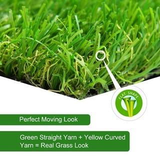 Gymax 9PCS Artificial Grass Tiles Synthetic Grass Carpet for Patio Flooring Decor