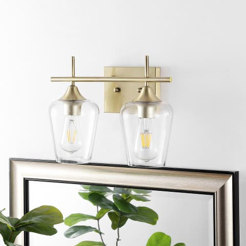 GetLedel Industrial 2-Light Vanity Light With Clear Glass Shade