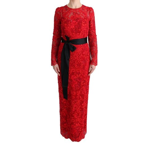 Dolce & Gabbana Red Floral Ricamo Sheath Long Women's Dress - it40-s