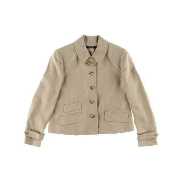 Lauren Ralph Lauren Womens Four-Button Blazer Silk Blend Herringbone