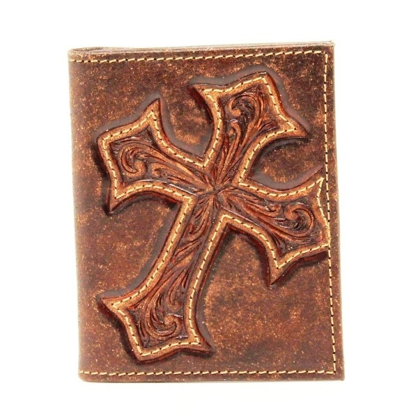 Nocona Western Wallet Mens Bifold Cross Overlay Medium Brown - 4 1/2 x 3 1/4