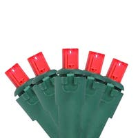 Set of 60 Red LED Wide Angle Christmas Lights - Green Wire