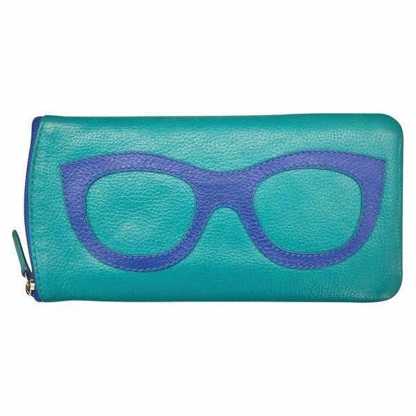 "Women's Leather Eyeglasses Case - Zipper Close - 7"" x 4"" - One size"