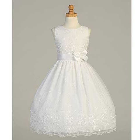1955d6b49e3 White Embroidered Organza First Communion Dress Girls 6-12.5
